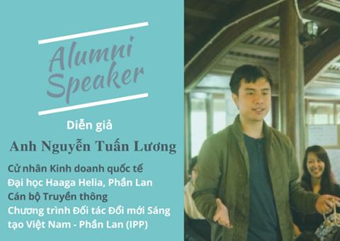 Haaga Helian alumni Nguyen Tuan Luong kertomassa vietnamilaisille millaista oli opiskella tutkinto Suomessa.
