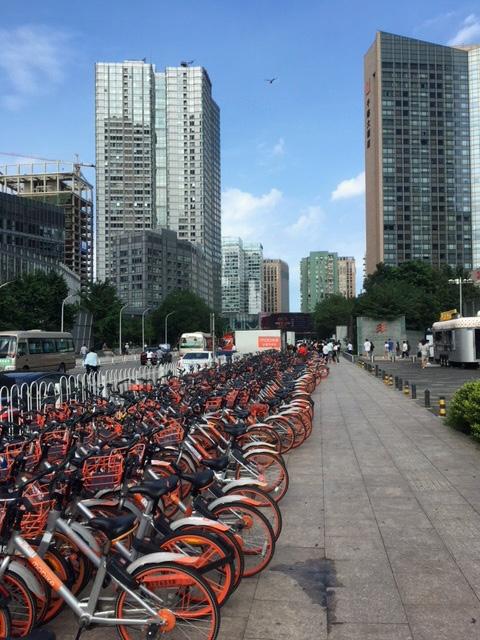 Pitkä jono pyöriä Pekingin kadun varrella.