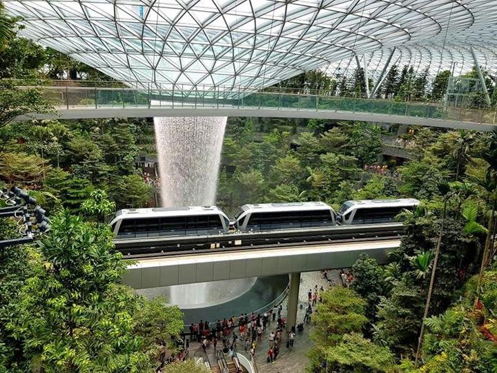 Singaporen uusin ylpeys on Changin lentokentälle valmistunut Jewel, eli jalokivi. Se on lentomatkustajien viihdekeidas, jonne monet singaporelaiset menevät viettämään aikaansa lempiharrastustensa pariin – syömään, shoppailemaan ja katsomaan sisätiloihin rakennettua sademetsää. Kuva Riku Mäkelä.