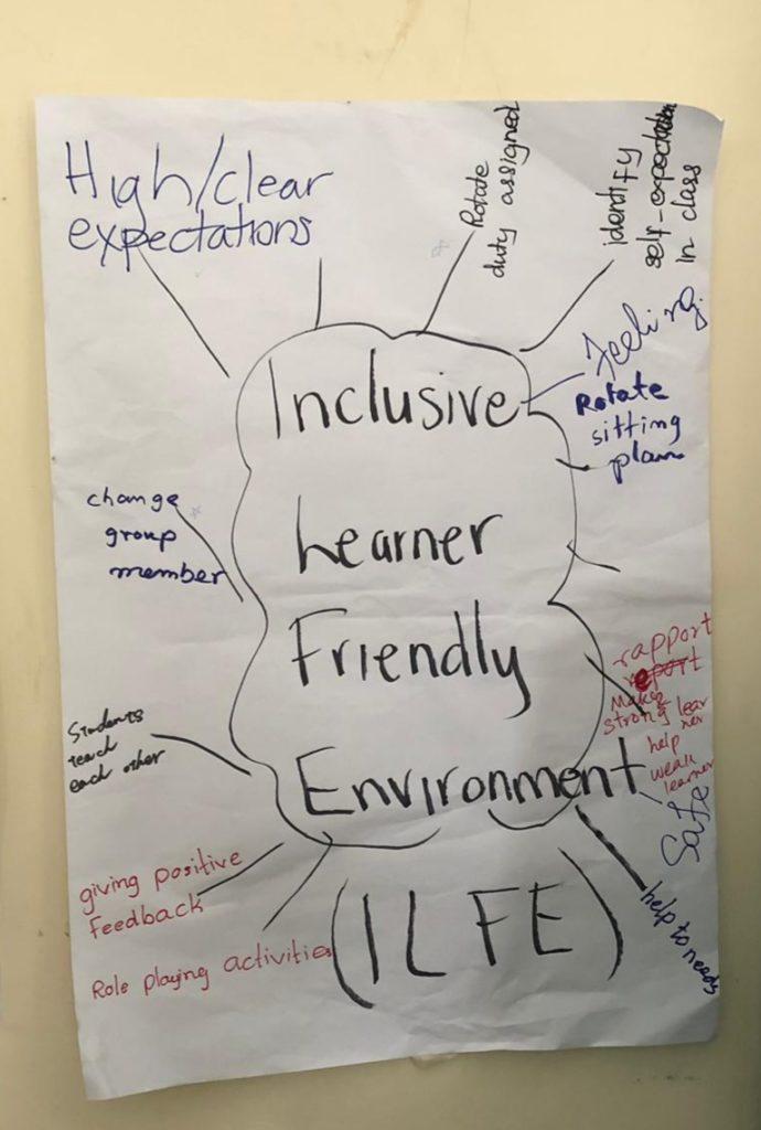 Ryhmätyön tuloksena syntynyt ajatuskartta inkluusiivista koulutuksesta.