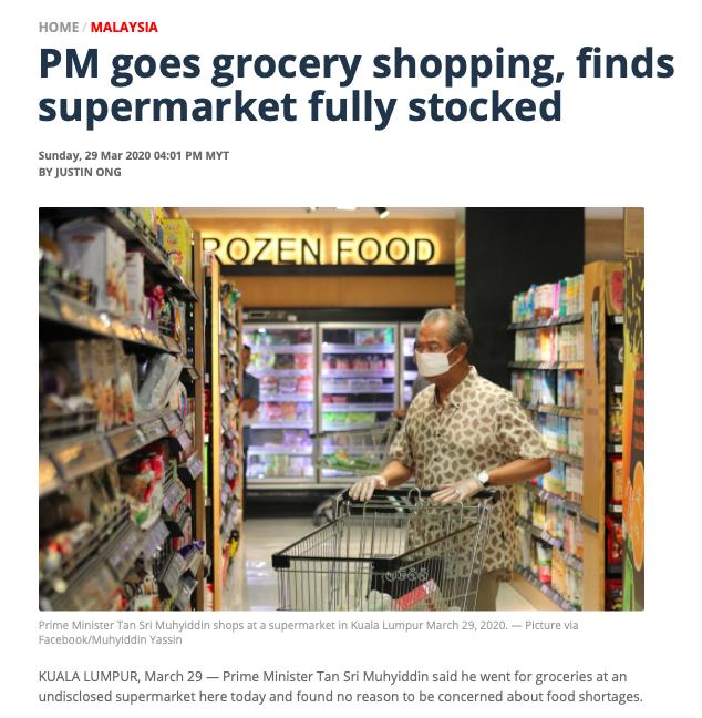 Pääministeri Tan Sri Muhyiddin mukaan ei huolta ruoan loppumisen suhteen. Kuvakaappaus: Malay Mail