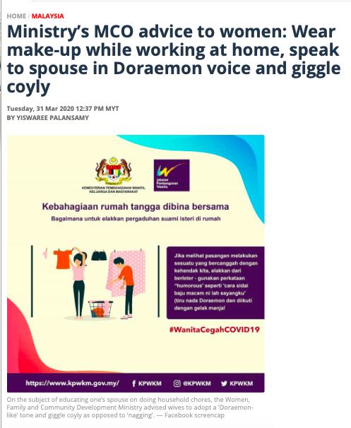 Naisten asioita edistävän ministeriön ohjeet karanteenissa oleville naisille. Kuvakaappaus: Malay Mail