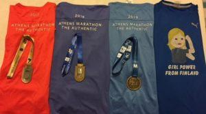 Girl Power from Finland: Kolme maraton-paitaa ja -mitalia