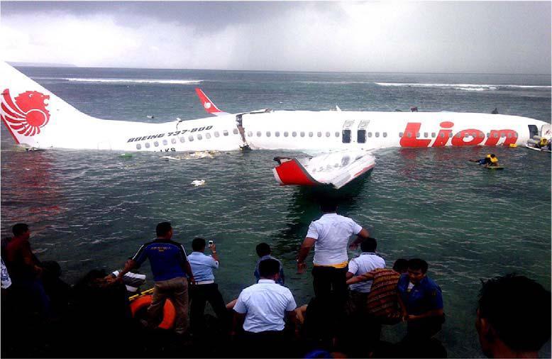 Lion Airin onnettomuudessa säästyttiin onneksi kuolonuhreilta - Kuva: Indonesian kansallisen liikenneturvallisuuskomitean tutkimusraportti