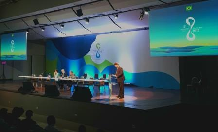 Suomen Brasilian suurlähettiläs Markku Virri esitti Suomen kansallisen puheenvuoron. Kuva: Essi Raitala