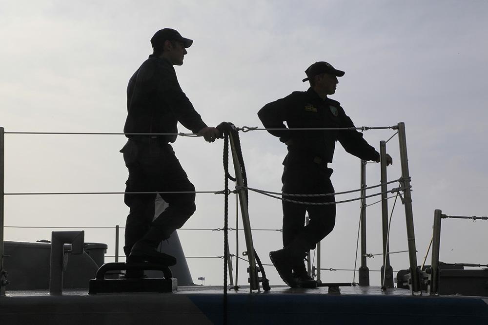 Kreikkalaiset rajavartijat Arkoi-vartiolaivan kannella