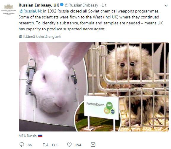 Venäjän suurlähetystö Lontoossa twiittaa ahkerasti Skripal-tapauksesta