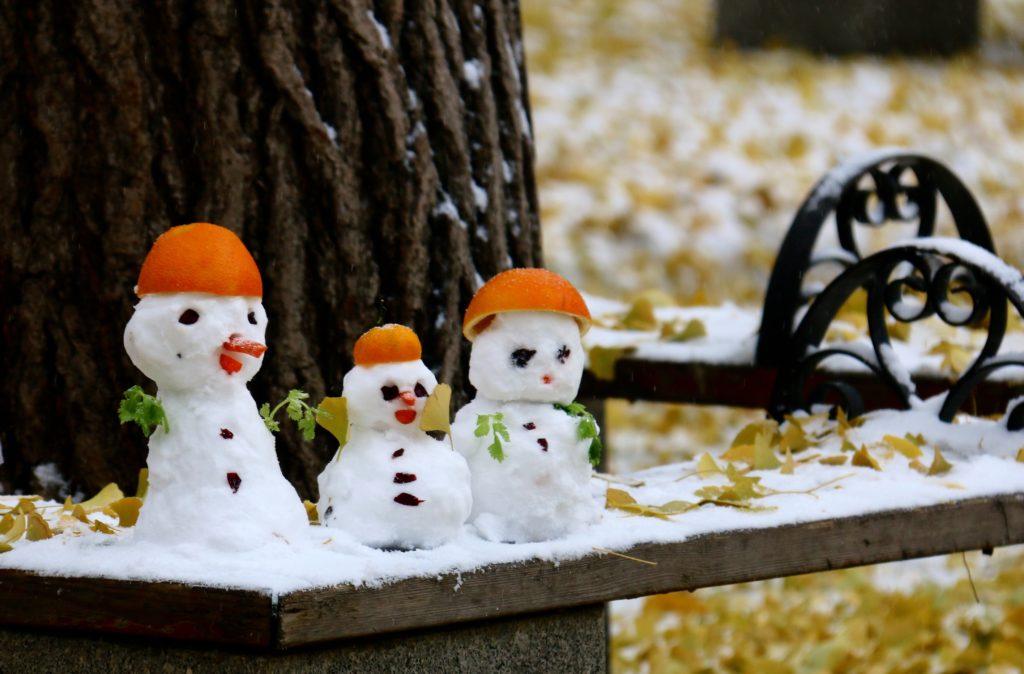 Lumiukkoperhe yhden lapsen politiikan aikaan Ritan-puistossa. Kuva: Tarja Kangaskorte.