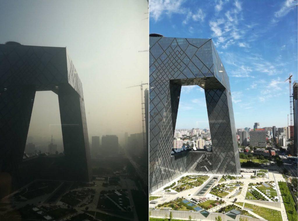 Pekingin ilmansaasteiden ääripäät. Hyvänä päivänä (kuvassa ilmansaastelukema alle 10) Pekingin keskustasta näkee kaupunginlaitamilla olevat vuoret, mutta huonoina päivinä (kuvassa ilmansaastelukema yli 200) tien toisella puolella olevat rakennuksetkin ovat saastesumun peitossa.