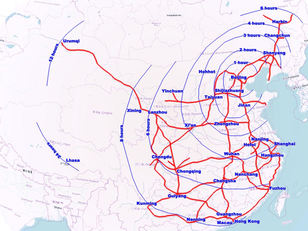 Kiinan luotijunaverkoston suunnitelma vuodelle 2020. Kuva: Wikimedia Commons.