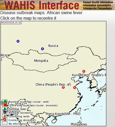 Kiinassa todettiin viime päivinä taas uusia ASF:n taudinpurkauksia. Lähde: The World Animal Health Information System.