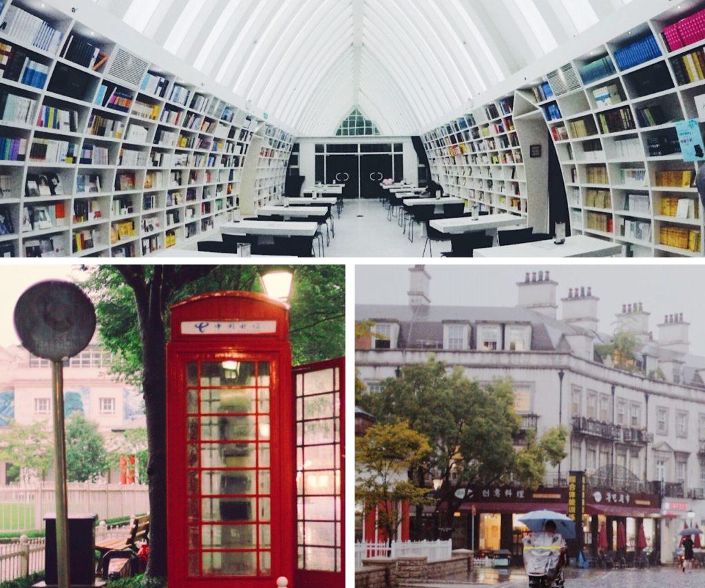 Thames Townin maisemia – ylhäällä modernin kirjaston kappelimainen lukusali, alarivissä China Telecomin punainen puhelinkoppi ja varsin eurooppalaisen oloista katumaisemaa. Kuvat: Aino Röyskö.