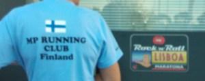 Lissabonissa 5.10. juostulla maratonilla nähtiin sinivalkoisia värejä. Kuva: Outi Holopainen.