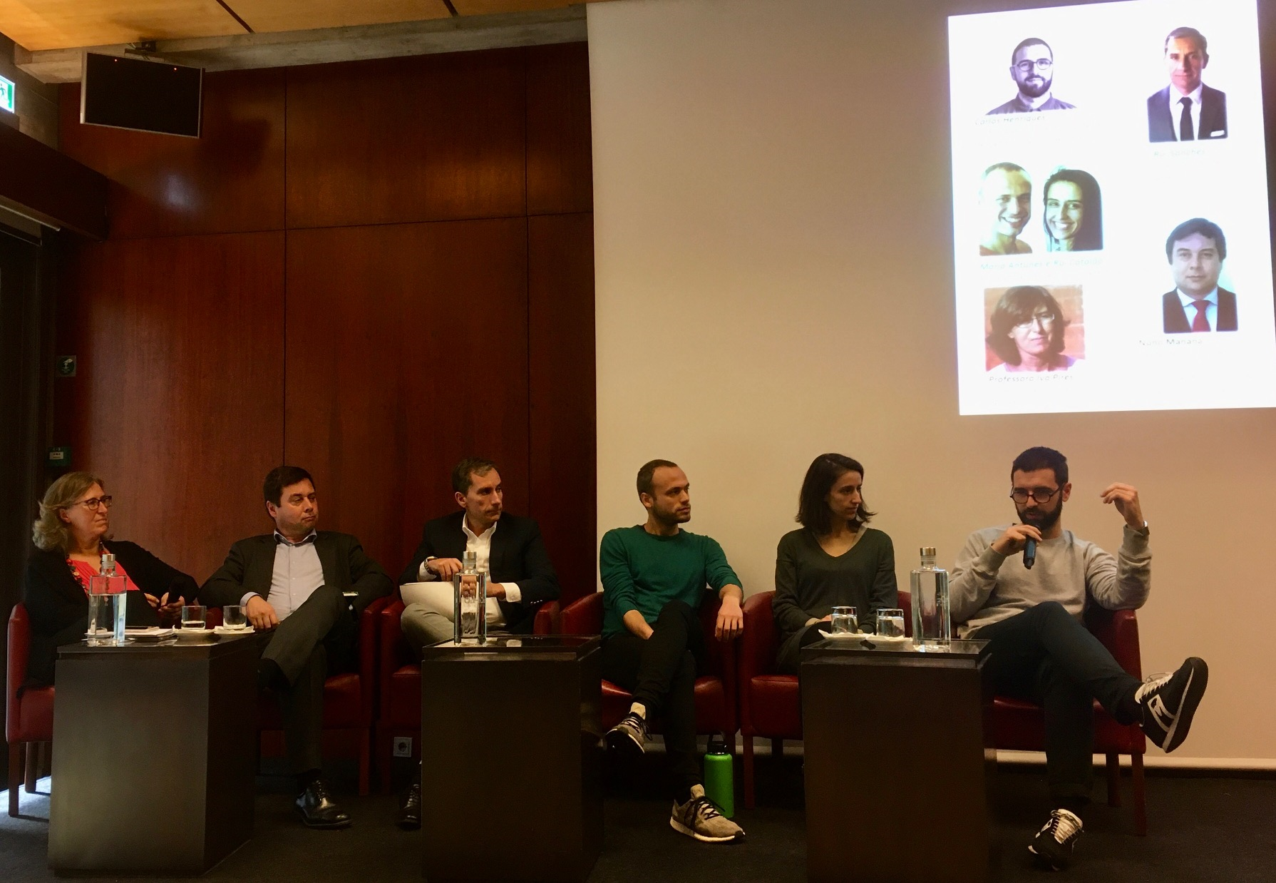 Ruokahävikki-seminaarin panelistit; Iva Pires, Nuno Manana, Rui Sanches, Rui Catalão, Maria Antunes ja Carlos Henriques.