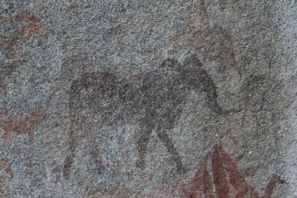 San-kansan norsua esittävä luolamaalaus Zimbabwen Domboshawasta. Kuva: Timo Olkkonen.