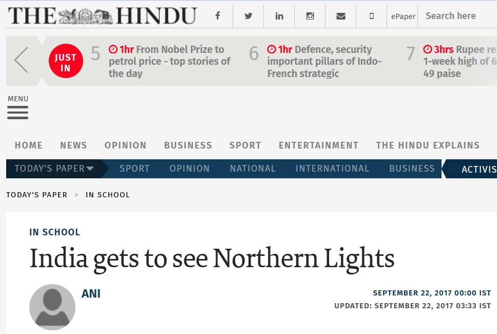 Revontulinäyttely Intian mediassa. (The Hindu)