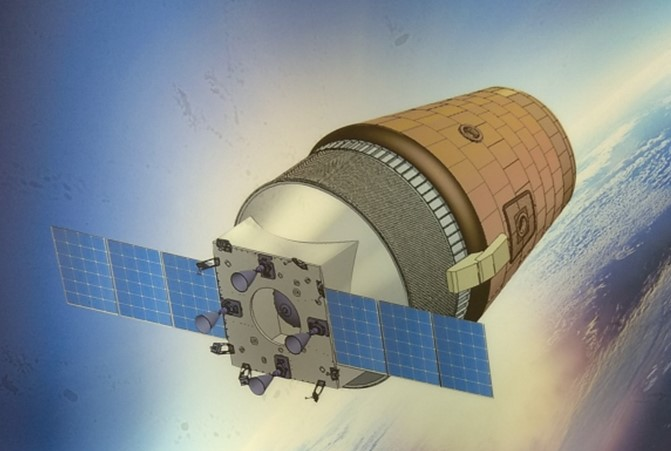 Piirroshahmotelma Gaganyaan-avaruusaluksesta. Kuva: ISRO.