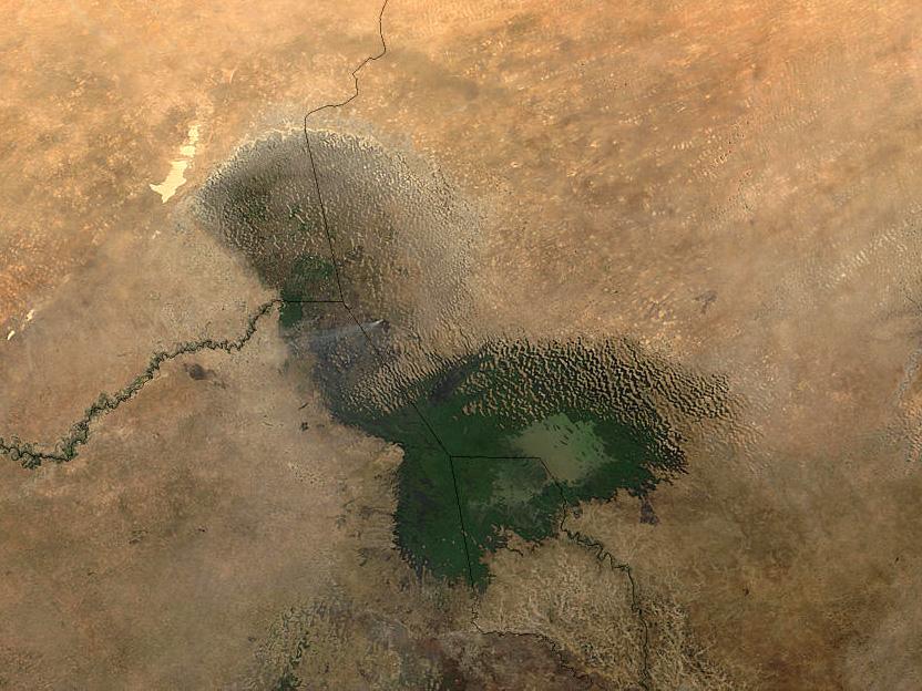 Tšadjärvi sijaitsee neljän valtion alueella Länsi-Afrikassa. Kuva: NASA