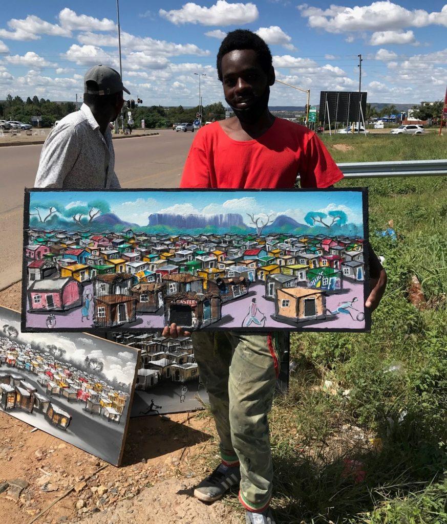 Monikulttuurisen Pretorian tienposkessa tekee hyviä kauppoja. Zimbabwelaisen taiteilijan Shaunin romumetallista tekemät taideteokset päätyivät lähiömme seinille. Kuva: Iina Soiri