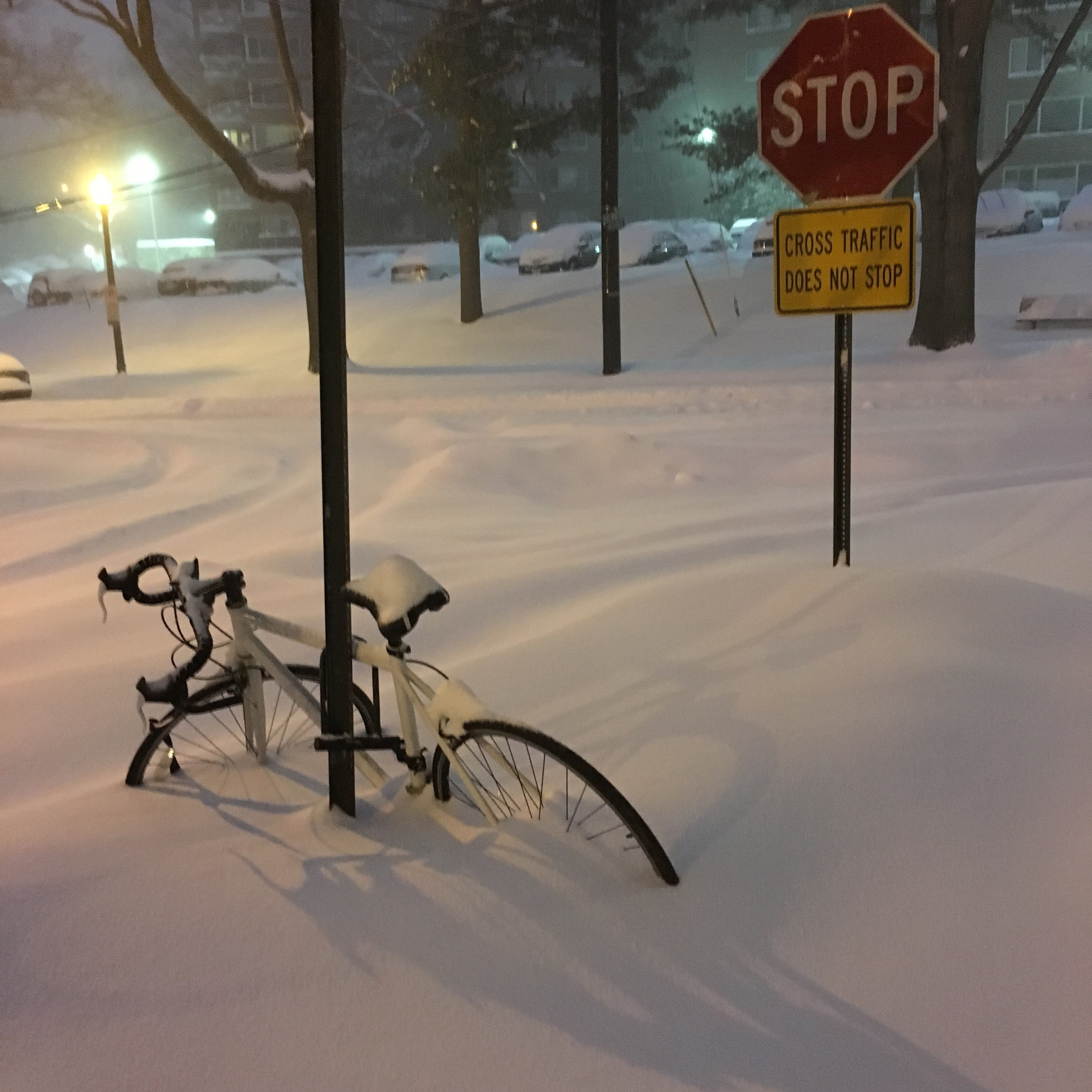 Pyörä naapurustossa. Lunta tuli hitusen.