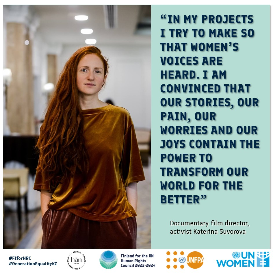 """Katerina Suvorova ja hänen lainaus """"In my projects I try to make so that women's voices are heard. I am convinced that our stories, our pain, our worries and our joys contain the power to transform our world for the better"""""""