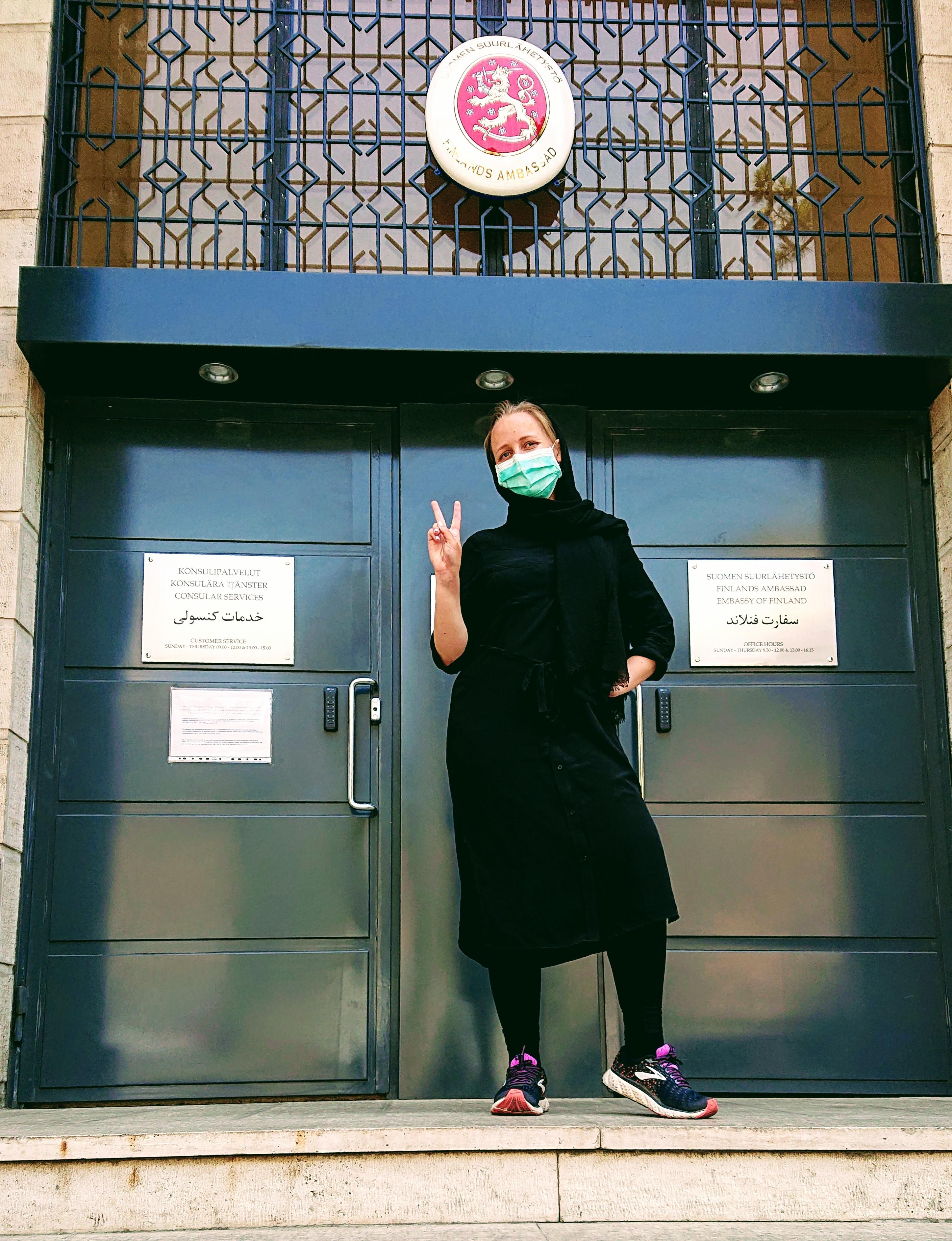 COVID-19-epidemia näkyy Teheranin katukuvassa muun muassa kasvomaskien muodossa, ja niiden käyttöä edellytetään julkisissa tiloissa. Kuva: Riina Keskinen.