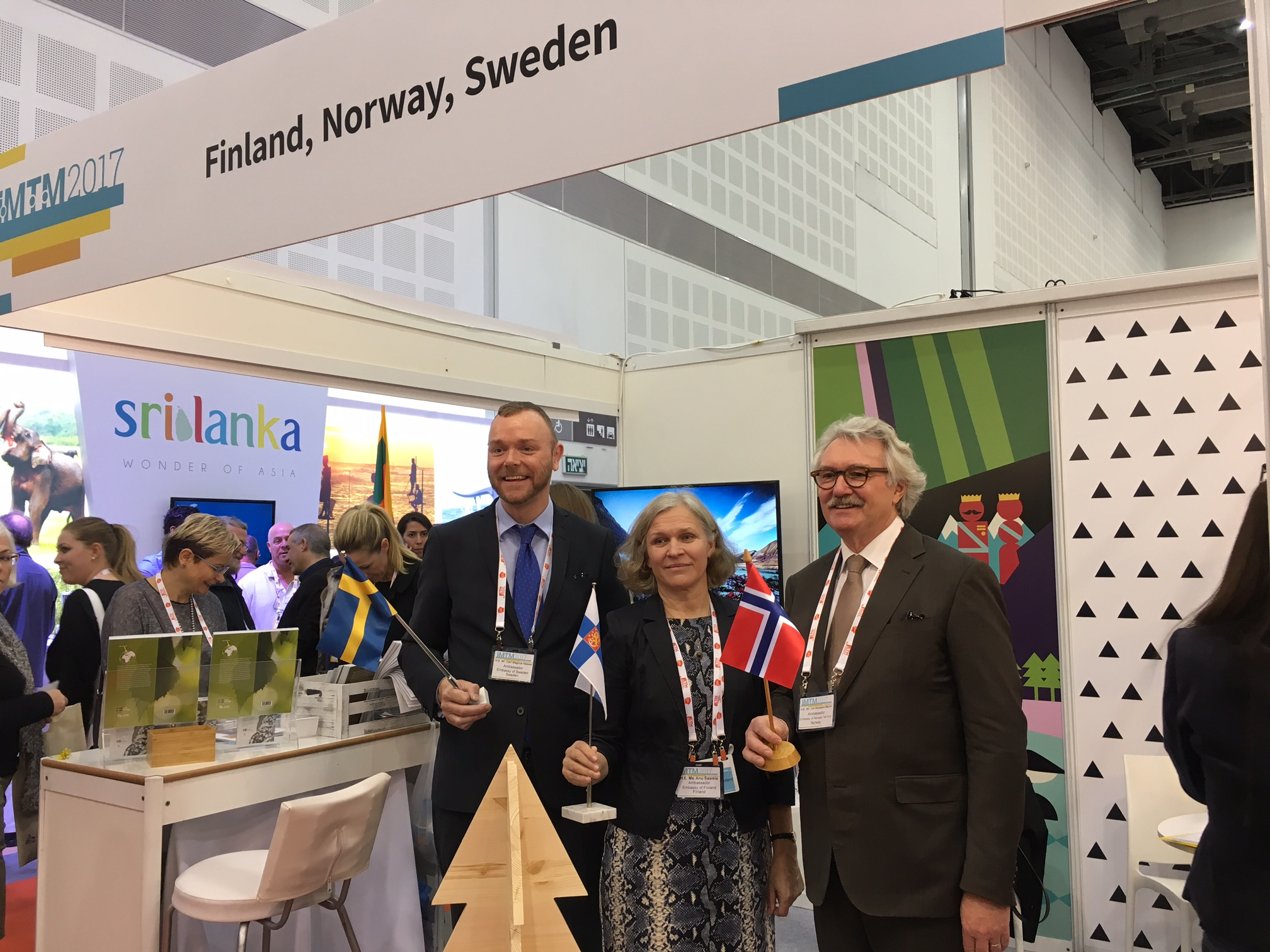 Pohjoismaiset suurlähettiläät IMTM–matkailumessuilla. Kuva: Suomen Tel Avivin -edustusto