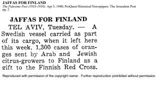 Jaffas for Finland -uutinen Palestine Postissa. Lähde: Jerusalem Post.