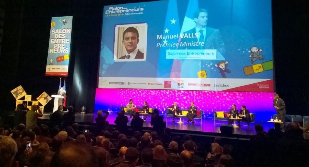 Pääministeri Manuel Valls avasi Pariisin Salon des Entrepreneurs'n 3.2.2016. Kuva: Nicola Lindertz
