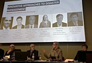 UNDP:n Connecting Business Initiative:n järjestämä paneelikeskustelu innovatiivista ratkaisuista kriisien hoidossa 6. helmikuuta Genevessä. Kuva: Kimmo Laukkanen