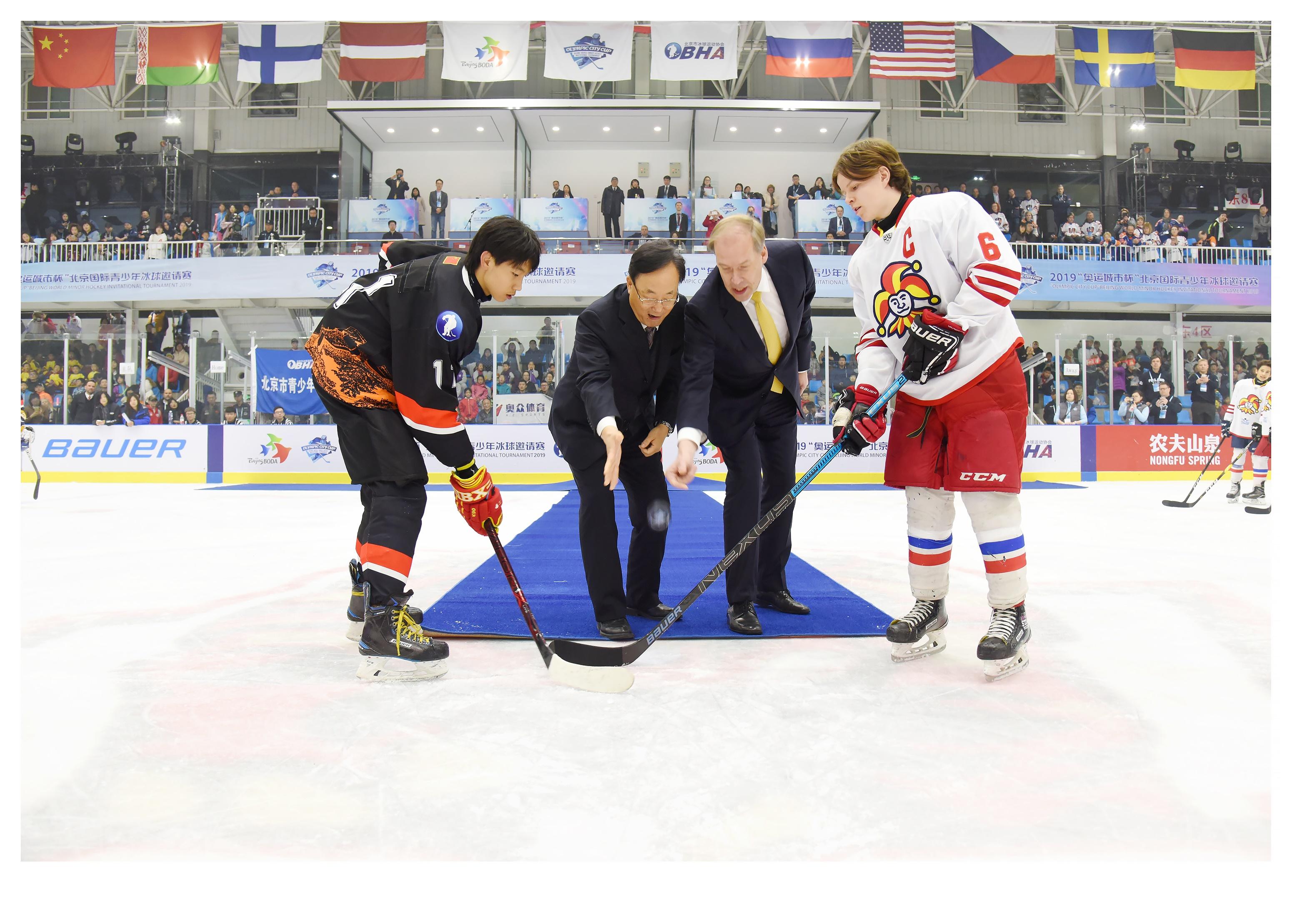 Vappuvapaiden aikana Pekingissä oli tarjolla huipputason juniorijääkiekkoa. Mukana olivat myös Jokerit ja Tappara Suomesta. Kuva: Beijing Ice Hockey Association.