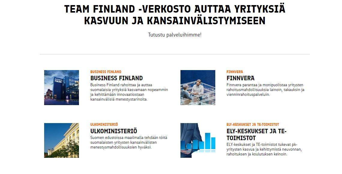 Team Finland -verkoston ydintoimijoiden esittelyä team-finland.fi-verkkosivuilla.