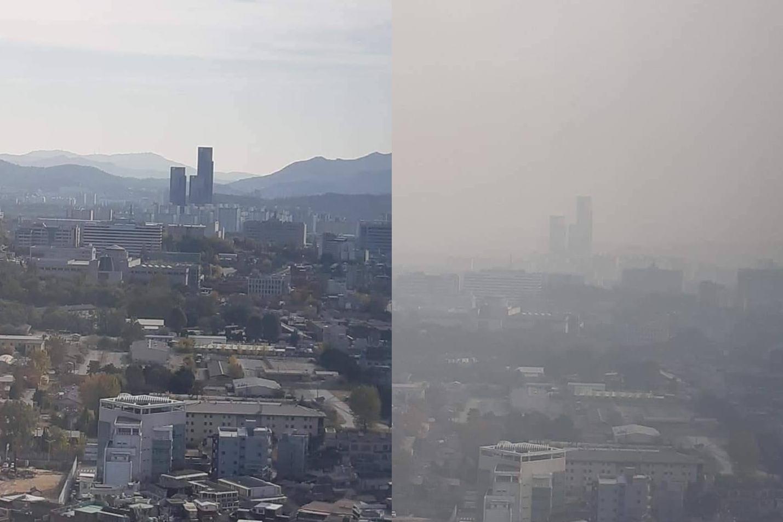 Vertailukuva Soulin ilmansaasteista hyvänä ja huonona päivänä.