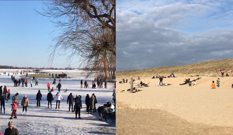 Vasemmalla luistelijoita jäällä, oikealla ihmisiä uimarannalla