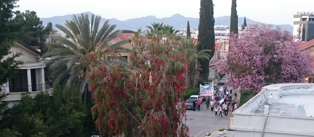 Kyproksenturkkilaisten johtajaksi valitun Mustafa Akincin kannattajia juhlimassa Nikosiassa vaali-iltana 26. huhtikuuta. Kuva: Olli Nurmi.