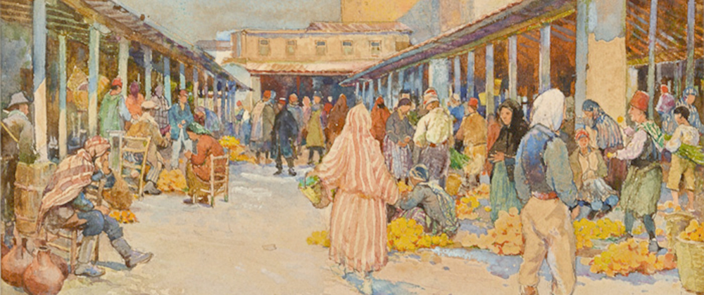 Kyproslainen kauppakatu kuvattuna Centre of Visual Arts & Researchin kokoelmassa.